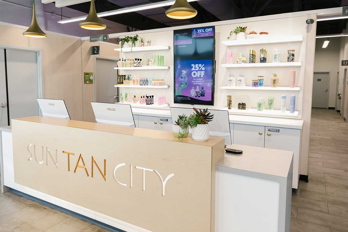 Sun Tan City salon inside front counter